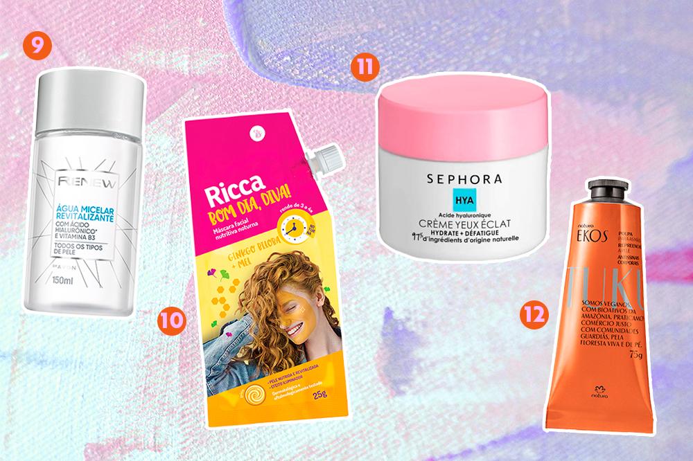 Montagem com quatro cosméticos diferentes que têm ácido hialurônico na fórmula