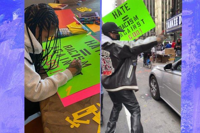 Colagem com duas imagens. A primeira com Rihanna fazendo um cartaz para a manifestação, a segunda com a cantora andando pela rua na manifestação