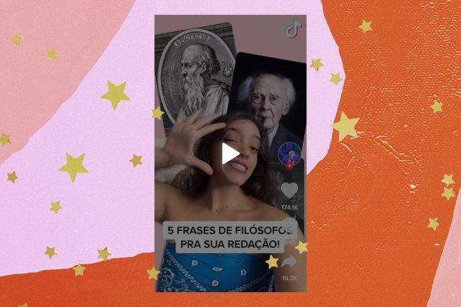 Na imagem, a youtuber Débora Aladim está usando uma blusa azul e, ao fundo, aparecem as imagens dos filósofos Epicteto e Zygmunt Bauman