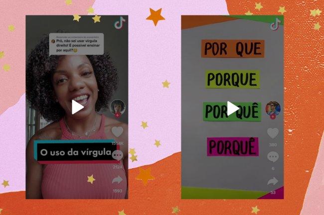 A colagem mostra dois prints do TikTok, em um deles aparece professora de português Simone Porfiria, vestindo uma blusa rosa e está escrito