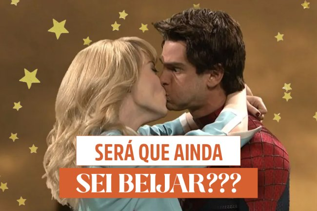 Emma Stone e Andrew Garfield se beijando de um jeito estranho de propósito