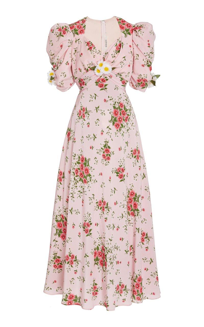 Vestido com estampa floral rosa da marca Rodarte que foi usado por Kendall Jenner e Selena Gomez