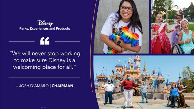 Montagem com fundo azul com citação do presidente da disney escrito na cor branca, e ao lado montagem com uma mulher de óculos usando camiseta branca e segurando mickeys coloridos, em baixo uma foto do castelo da Disney com pessoas na frente.