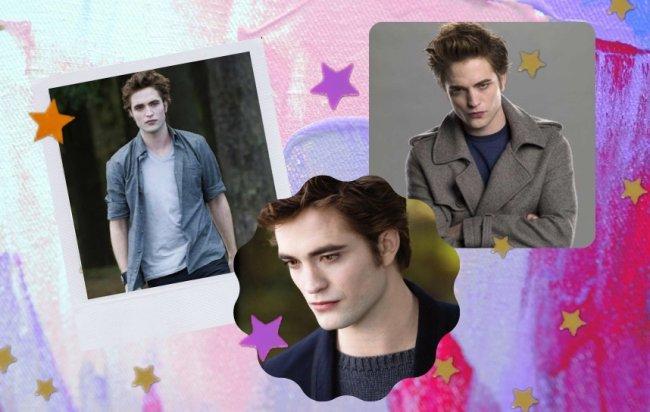Montagem com 3 fotos do personagem Edward Cullen, do filme Crepúsculo. Na primeira ele usa blusa cinza aberta, com camiseta branca; na segunda ele está pensativo olhando para baixo usando blusa cinza e blazer azul marinho; na terceira ele usa sobretudo cinza com camiseta azul marinho e sua expressão é séria.