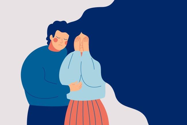 Ilustração de uma garota de cabelos longos e azuis sendo confortada com um abraço por uma rapaz de bochechas rosadas