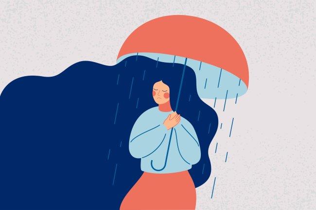 Ilustração de uma mulher de longos cabelos azuis, triste, segurando um guarda-chuva vermelho, para se proteger de uma chuva que só cai sobre ela; representação da depressão