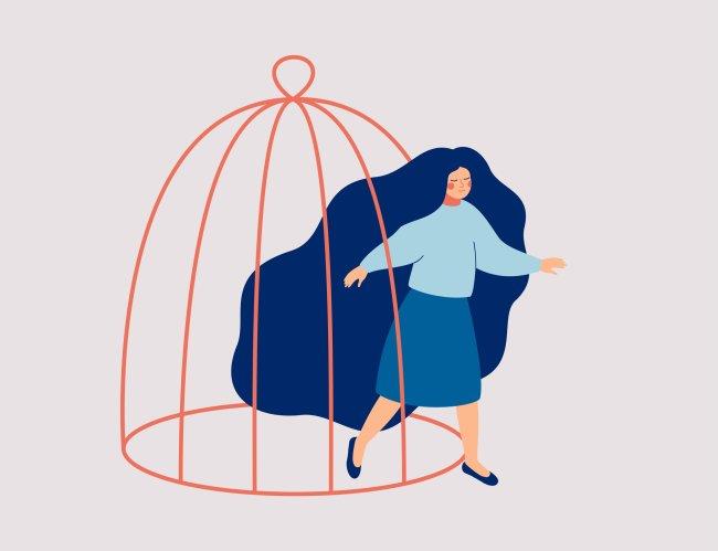 Ilustração de uma mulher de longos cabelos azuis saindo de uma enorme gaiola vermelha; representação para a superação da depressão