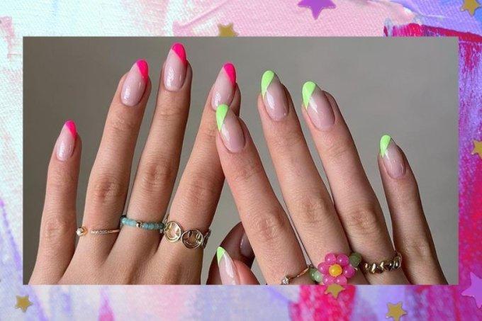 Inspiração de nail art colorida