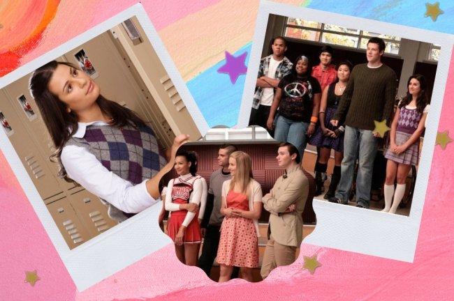 Montagem com 3 fotos do seriado Glee. Na primeira a personagem Rachel Berry com expressão pensativa, na segunda parte do elenco e na terceira a parte final do elenco.