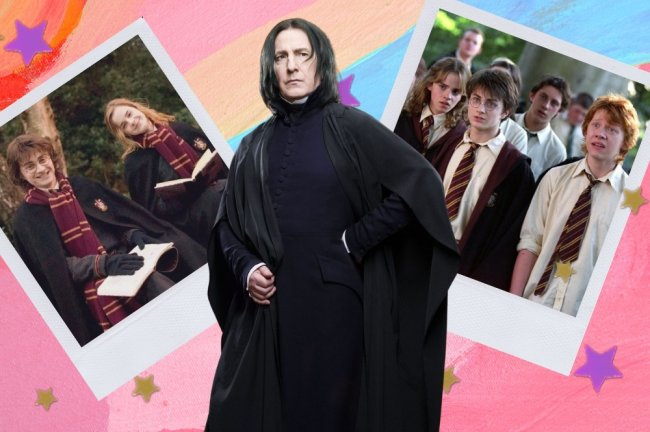 Montagem com 2 fotos do filme Harry Potter e uma foto do Severo Snape em destaque. Na primeira foto temos Harry e Hermione sentados com livro nas mãos e sorridentes, na segunda Harry, Hermione e Rony com outros alunos de Hogwarts com expressão de surpresa.