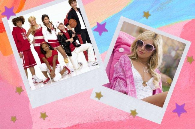 Montagem com duas fotos do filme High Musical, na primeira o elenco usando o uniforme da escola que tinha camisa vermelha e calça branca, na segunda foto sharpay sentada com maio branco e óculos com armação rosa.