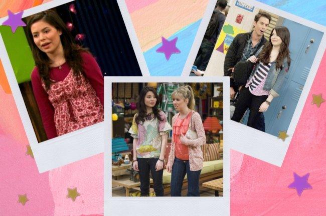 Montagem com 3 fotos do seriado iCarly, na primeira Carly com uma blusa de manga longa vermelha e com expressão surpresa, na outra Carly e Sam juntas, e na última Carly e Spencer sorridentes.