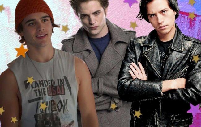 Luke, de gorro vermelho e sorriso leve, Edward Cullen, com olhar sério e braços cruzados, e Jughead Jones, com olhar sério e braços cruzados