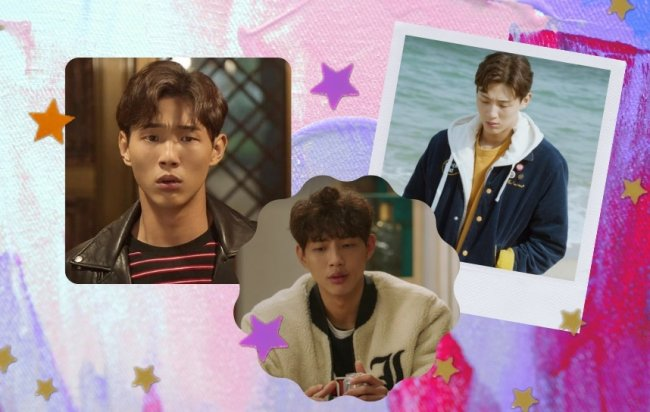 Montagem com 3 fotos do personagem Yoon Tae-oh, do dorama Primeira vez amor. Na primeira imagem ele usa jaqueta de couro preta, com camiseta com listras preta e vermelha ; Na segunda imagem uma jaqueta com pelinhos branca, e na última imagem jaqueta azul com moletom branco e camiseta amarela.