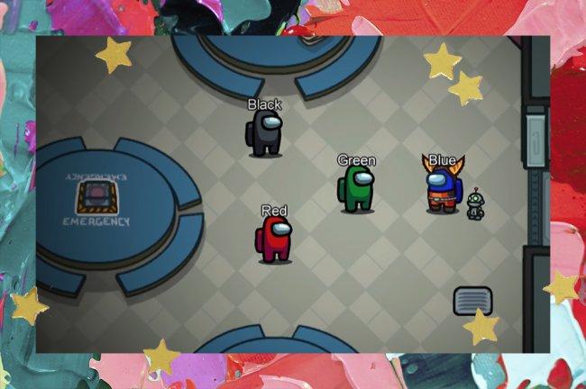 Print do game Among Us, com os avatares azul, vermelho e verde no comando da ação