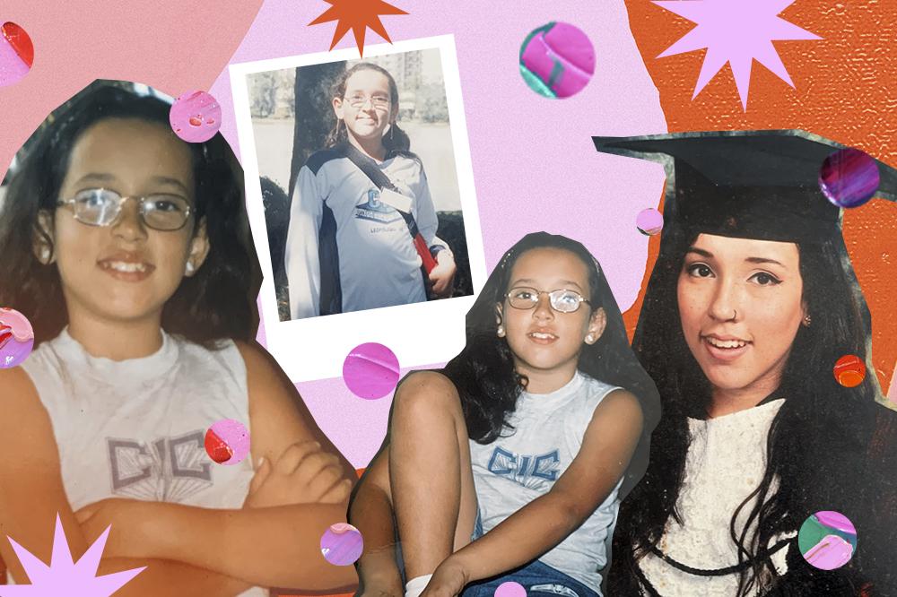 Montagem com quatro fotos da Bruna Vieira usando uniforme escolar. Nas três primeiras fotos, ela ainda é criança e está com camiseta branca do uniforme e óculos de grau. Na foto da direita, está se formando no terceiro ano, usando beca e sorrindo.