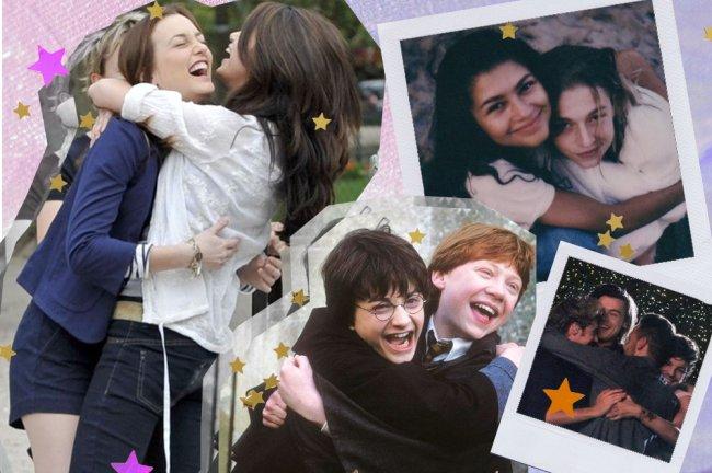 Montagem só com fotos de abraços. Temos nas fotos a Selena Gomez abraçando a Leighton Meester, a Zendaya abraçando a Hunter Schafer, o Harry Portter abraçando o Rony Weasley, e o One Direction se abraçando no palco