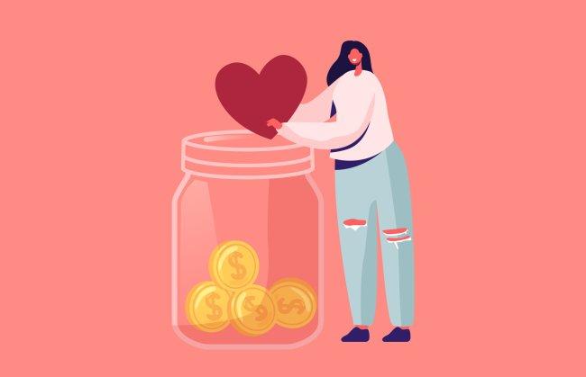 Ilustração no fundo rosa de uma mulher de cabelo preto depositando em um cofrinho de vidro um coração e, automaticamente, esse coração vira moedinhas de ouro