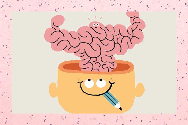 Ilustração de uma cabeça com o topo aberto e o cérebro saindo dela fazendo sinal de muque, como se estivesse muito exercitado.