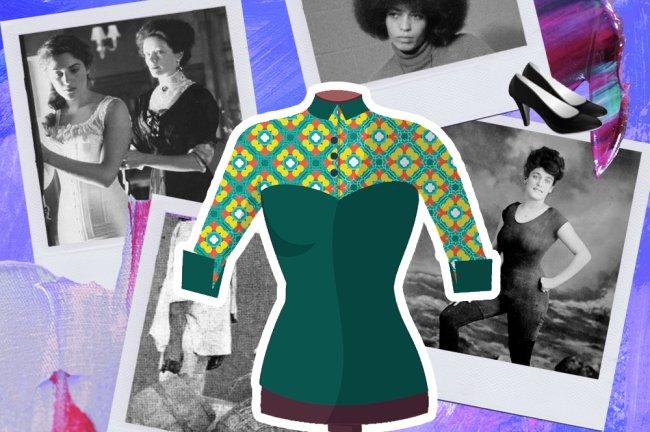 Montagem mostrandos os dress code de diferentes épocas, desde a escravidão até o século 18