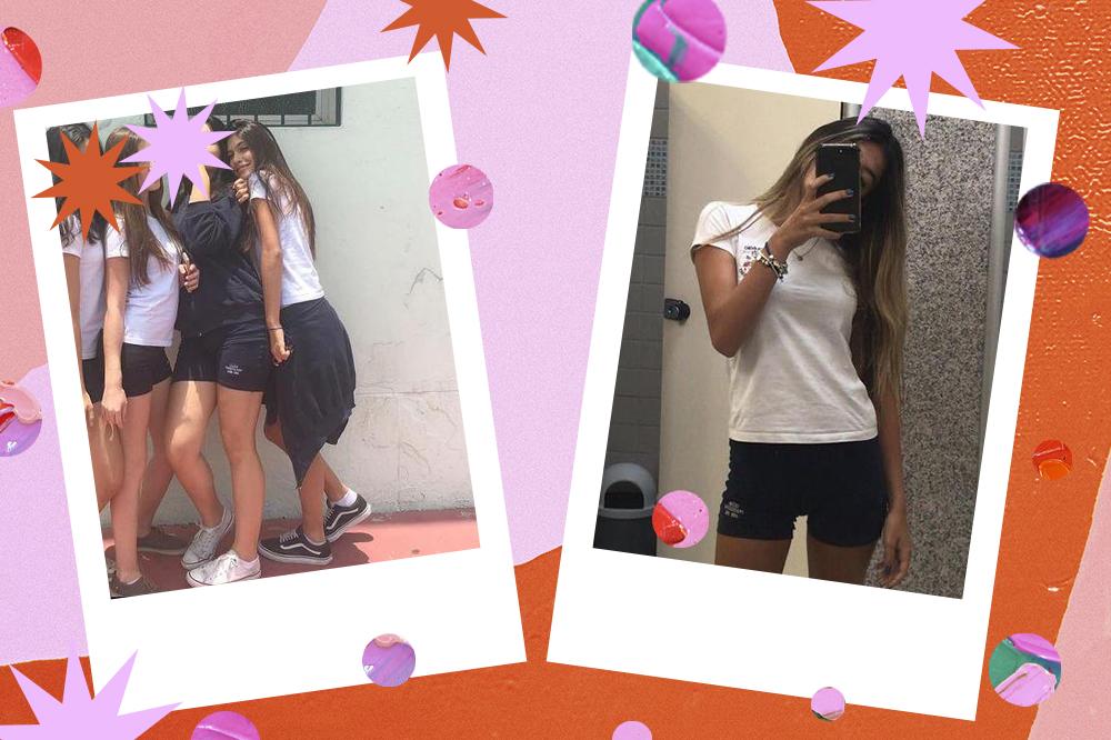 Montagem com duas fotos da atriz Fernanda Concon. À esquerda, ela está com camiseta branca do uniforme escolar, jaqueta pendurada na cintura e tênis. À direita, ela está com camiseta branca e shortinho da escola, tirando foto em frente ao espelho com o celular cobrindo o rosto.