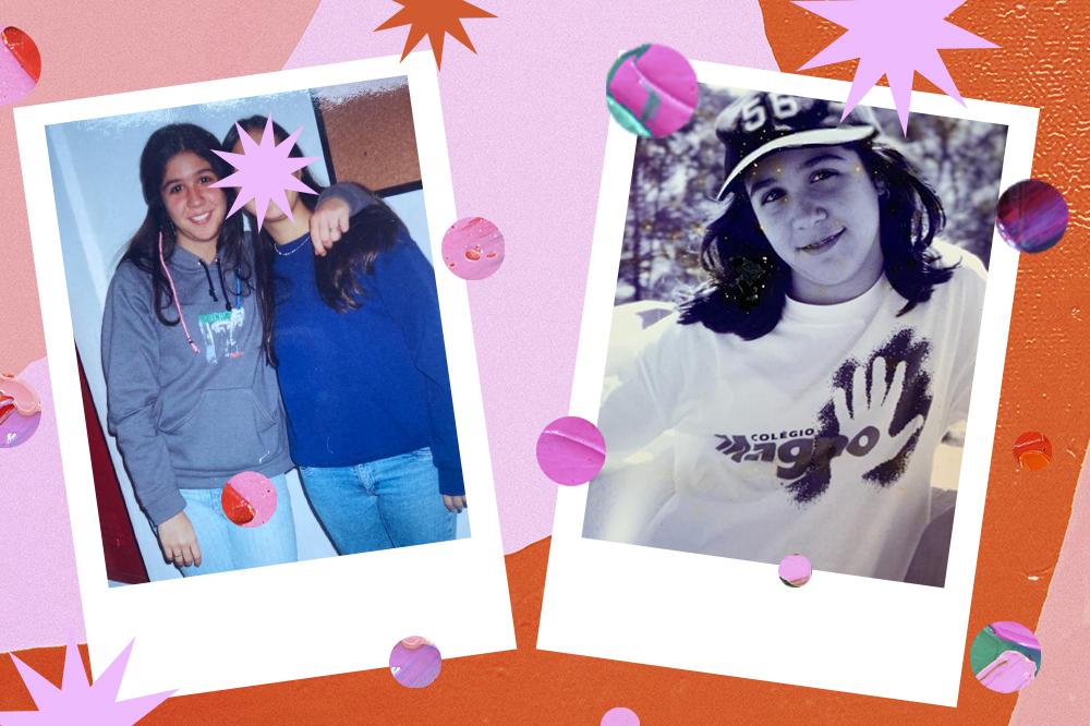 Montagem com duas fotos da YouTuber Foquinha usando uniforme escolar. À esquerda, ela está com uma amiga, sorrindo, usando moletom e calça jeans. À direita, ela está com camiseta branca do uniforme e boné.