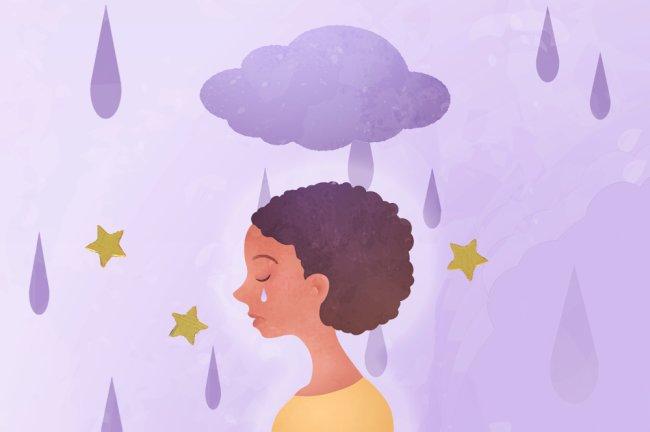 Ilustração de uma mulher negra, de cabelo afro curtinho, de perfil, chorando. Ela está sobre um fundo lilás, embaixo de uma nuvem roxa que derraba sobre ela gostas de chuva, também roxa.