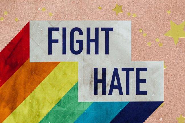 Arte de um arco-íris com os dizeres