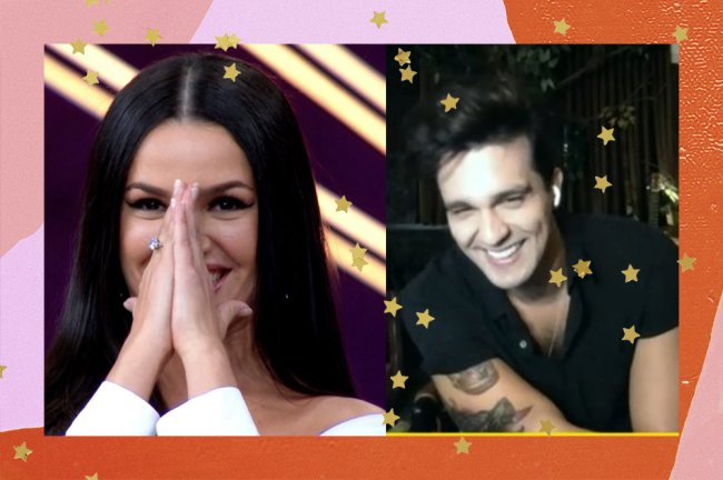 Montagem com foto de Juliette com as duas mãos juntas no rosto ao lado de uma imagem de Luan Santana, sorrindo, durante uma chamada de vídeo.