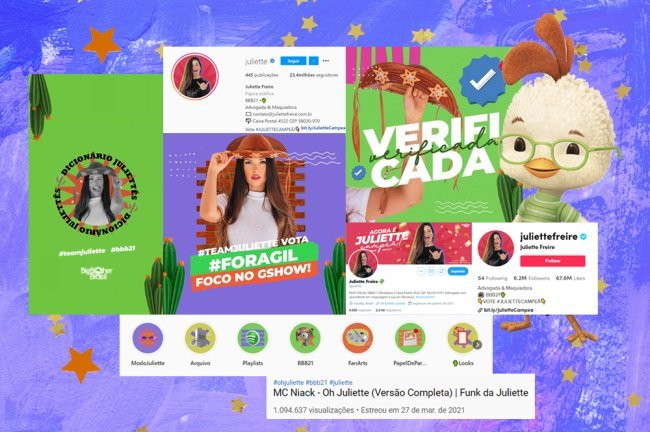 Montagem mostrando a relevância das redes sociais da Juliette, do BBB21. Prints de número de seguidores, aparência das postagens e publicações online