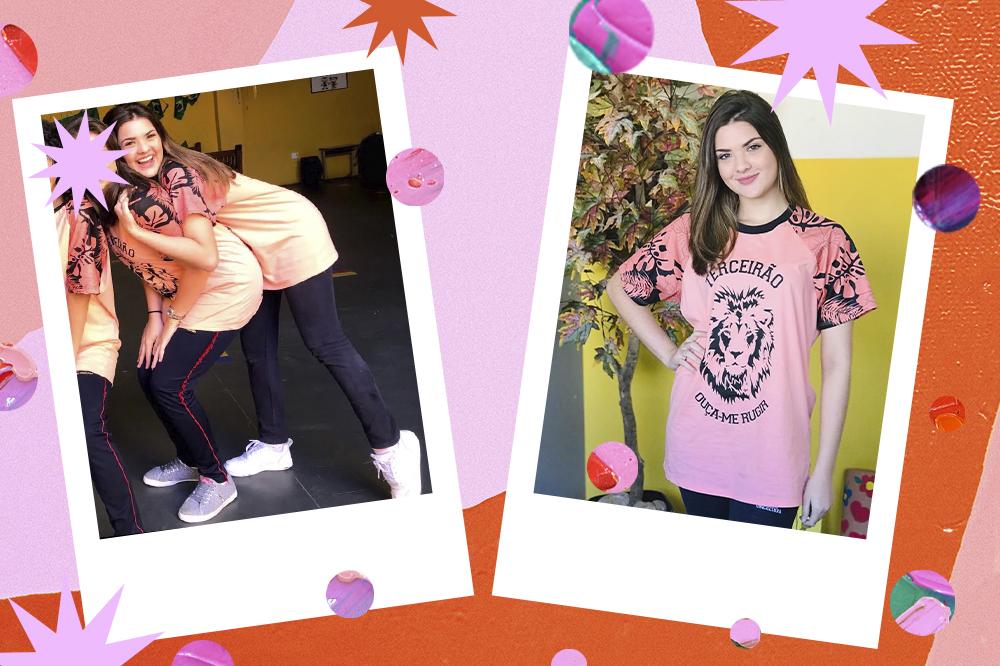 Montagem com duas fotos da atriz Lívia Inhudes. À esquerda, ela está abraçando uma amiga por trás, e as duas estão usando uniforme escolar com camiseta rosa clara, calça azul-marinho e tênis branco. À direita, Lívia está sozinha, sorrindo, com a mesma camiseta rosa do terceirão e uma mão na cintura.