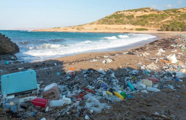 Imagem de uma praia cheia de lixo na areia; o mar é azul e o céu está aberto