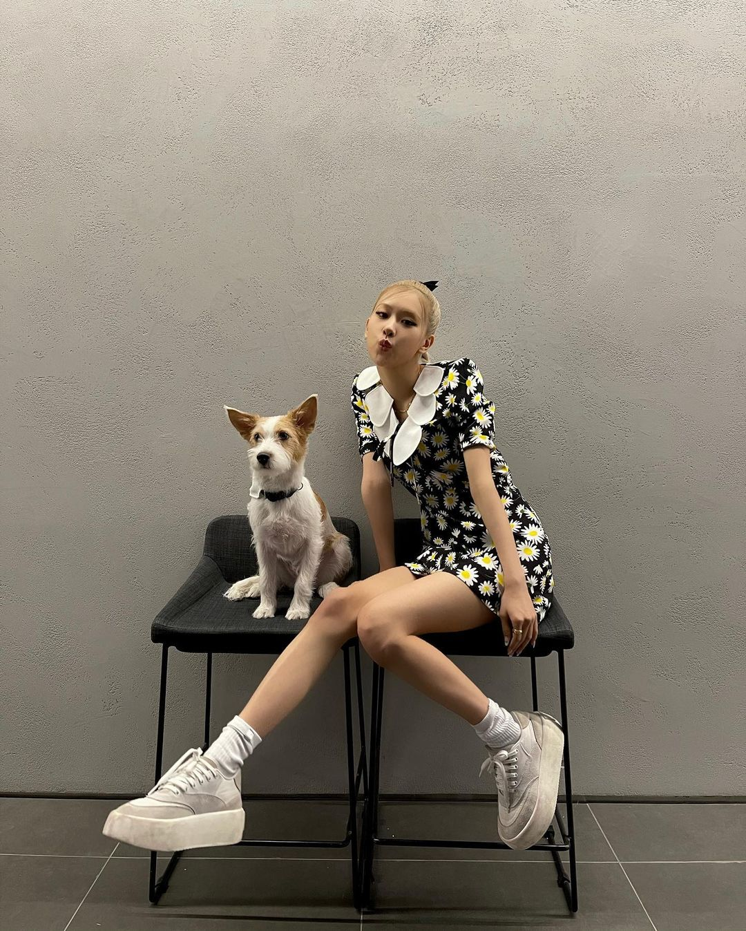 A mulher está sentada em uma cadeira preta. Ela usa um vestido preto com estampa de margaridas, tênis branco e está com o cabelo preso em um coque. Ela olha para a câmera e faz pose com bico. Ao lado da mulher, tem um cachorro branco com orelhas caramelo.