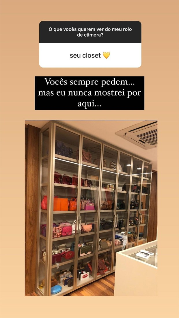 Print do story da atriz Marina Ruy Barbosa, no qual ela mostra sua coleção de bolsas, dentro de um closet com portas transparentes. Não conseguimos ver as bolsas com muito detalhe, mas conseguimos ver que ela tem várias.