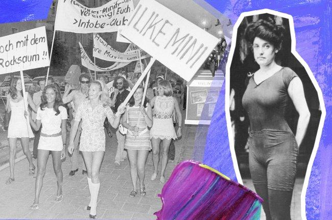 À esquerda, mulheres marcham em prol da minissaia. À direita, a nadadora Annette Kellerman com seu traje de banho