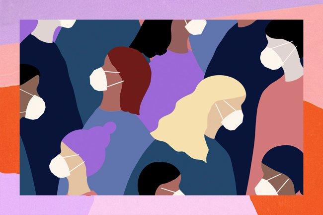 A ilustração mostra diversas mulheres usando máscaras cirúrgicas