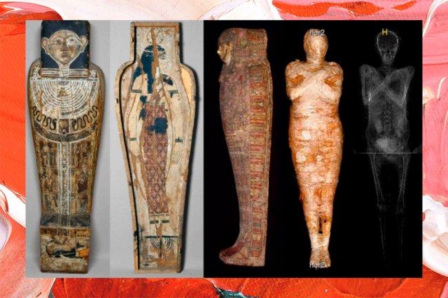Na colagem, é mostrada uma sequência de imagens de um sarcófago egípcio e o raio-X de uma múmia