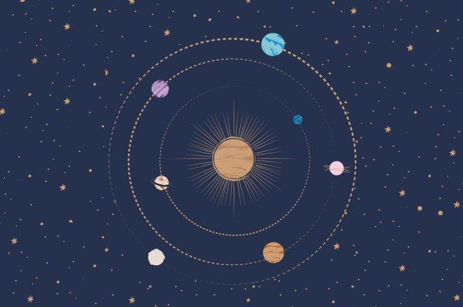 Ilustração dos planetas do zodíaco sobre um fundo azul escuro. Os planetas são coloridinhos e estão todos as redor do Sol.
