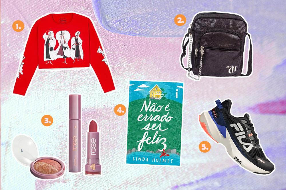Montagem com cinco sugestões de presentes para o Dia dos Namorados. Tem blusa de manga longa da Cruella, bolsa preta, kit de maquiagem, livro e tênis.