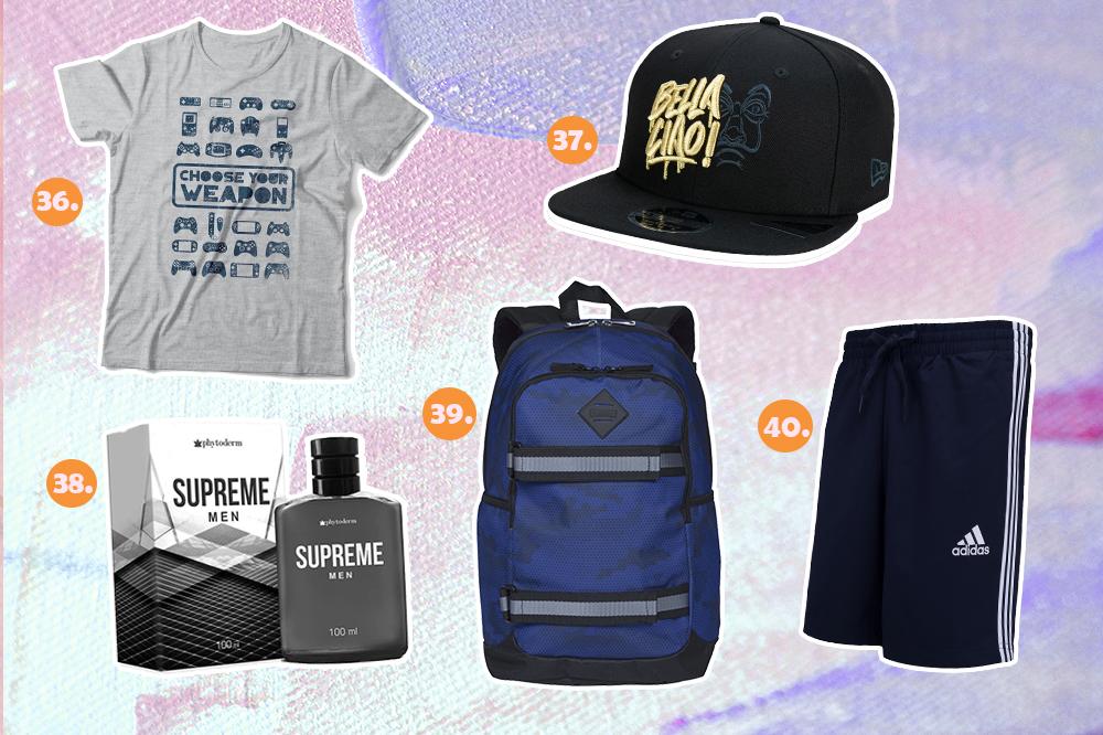 Montagem com cinco sugestões de presentes para o Dia dos Namorados. Tem camiseta de videogame, boné de La Casa de Papel, perfume, mochila azul e short da Adidas masculino.