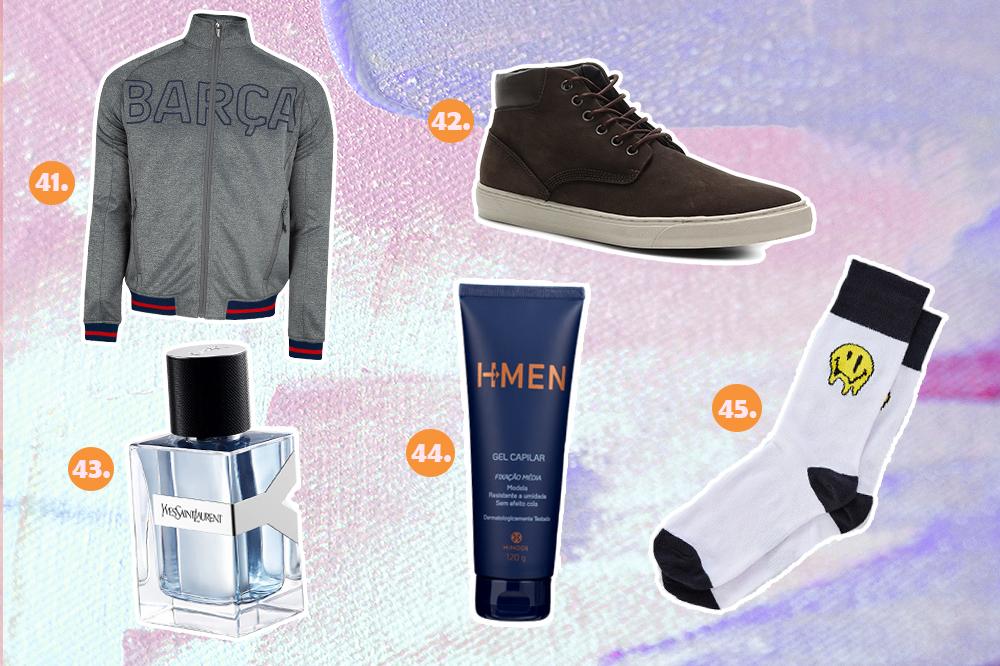 Montagem com cinco sugestões de presentes para o Dia dos Namorados. Tem jaqueta do Barcelona, tênis botinha masculino, perfume masculino, gel de cabelo e meia com carinha feliz.
