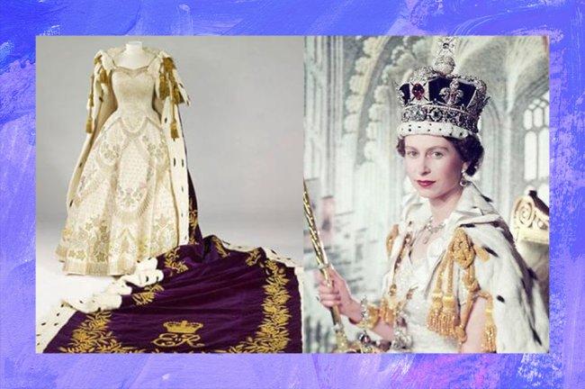 Imagens da Rainha Elizabeth II em sua coroação: manto e coroa eram revestidos de tecido púrpura