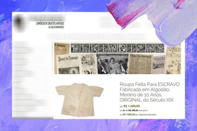 Print de uma roupa de escravo original do século 18 sendo vendida atualmente por mais de mil reais