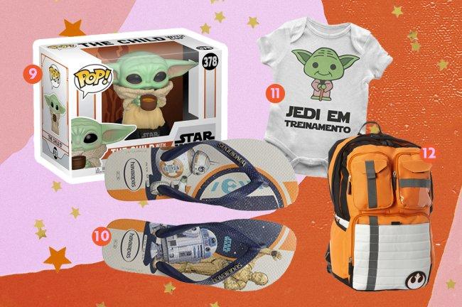 Produtos da saga Star Wars. Na imagem, vemos um funko do Baby Yoda, um chinelo customizado, um mochila tematizada da Aliança Rebelde e um body de bebê do Baby Yoda, com os dizeres