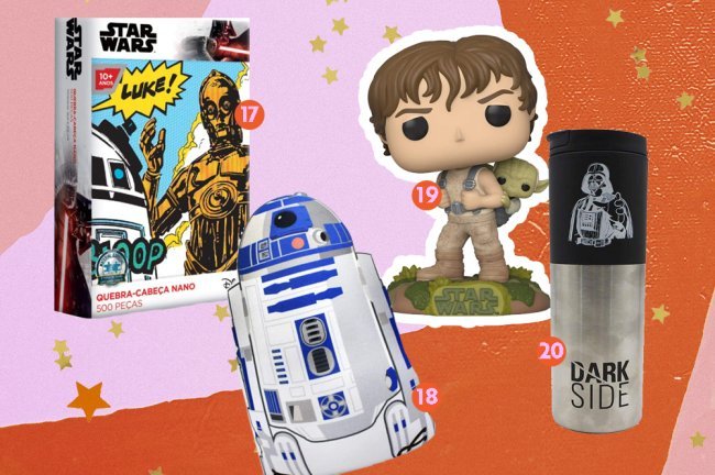 Produtos da saga Star Wars. Na imagem, vemos um quebra-cabeça de Star Wars, uma almofada no formado do r2d2, um fundo do Luke Skywalker evando o Yoda nas costas, e um copo térmico do Darth Vader