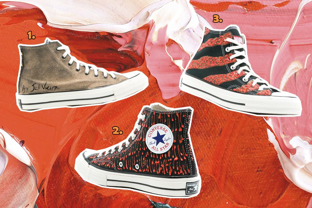 Montagem com três tênis Chuck 70 da Converse para completar a coleção de Jal Vieira inspirada nas mulheres de Wakanda, do filme Pantera Negra. O fundo da montagem é em tinta vermelha e rosa claro.