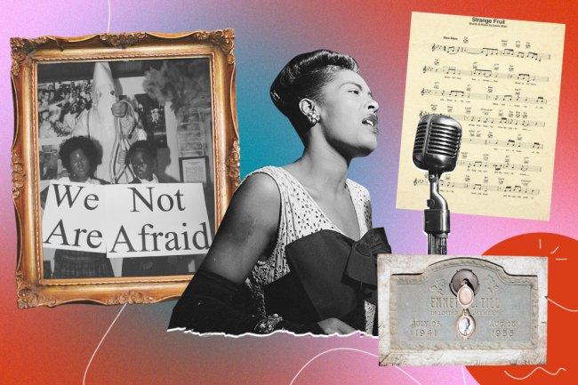 Montagem com as fotos de Billie Holiday e a partitura da música Strange Fruit
