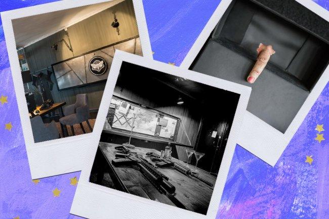 Montagem sobre fundo azul com fotos de apartamento temático de CSI