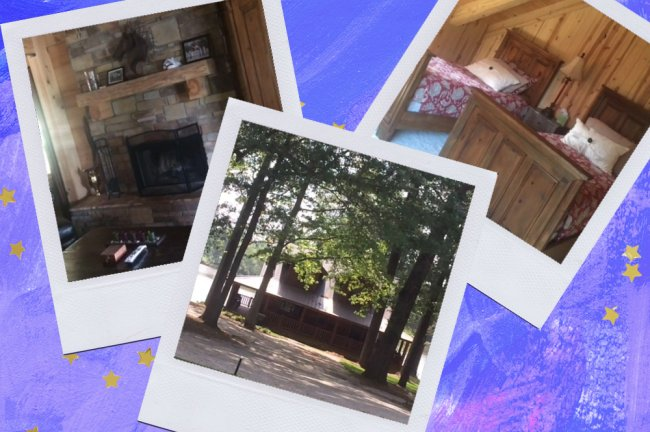 Montagem sobre fundo azul com fotos da cabana do Tony Stark