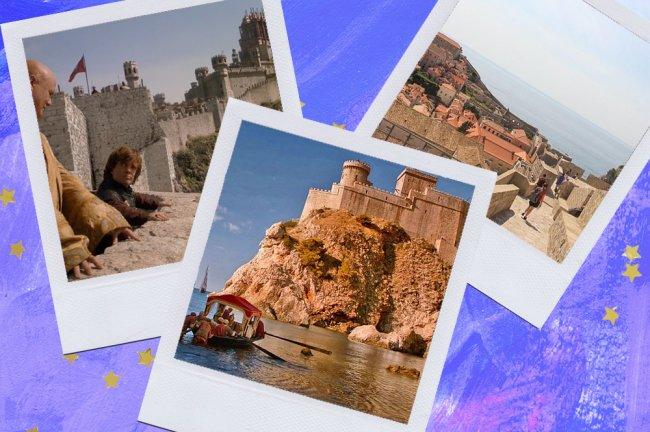 Montagem sobre fundo azul com fotos de Dubrovnik